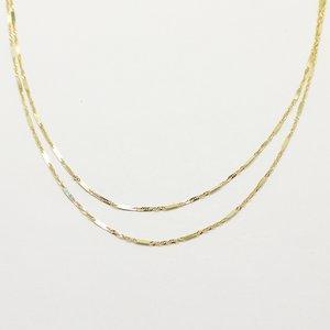 10金イエローゴールド 40cm 鏡面 ヘリンボーン スクリュー チェーン コンビ デザイン ネックレス h02