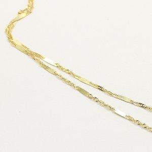 10金イエローゴールド 40cm 鏡面 ヘリンボーン スクリュー チェーン コンビ デザイン ネックレス h03
