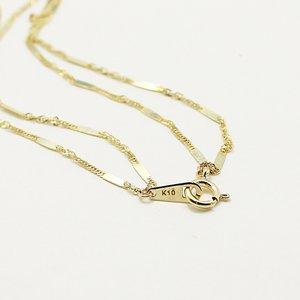10金イエローゴールド 40cm 鏡面 ヘリンボーン スクリュー チェーン コンビ デザイン ネックレス f04