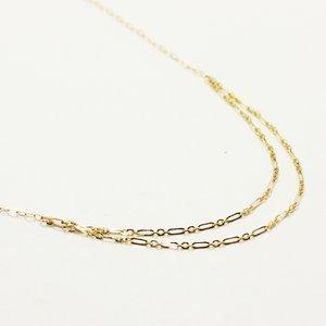10金イエローゴールド 40cm 丸アズキチェーン デザイン ネックレス h01