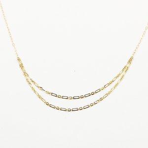 10金イエローゴールド 40cm 丸アズキチェーン デザイン ネックレス h02