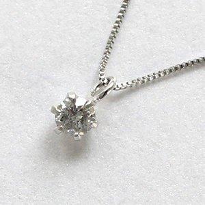 10金ホワイトゴールド 0.1ct 一粒石 ダイヤモンド 6爪 ペンダント ネックレス - 拡大画像