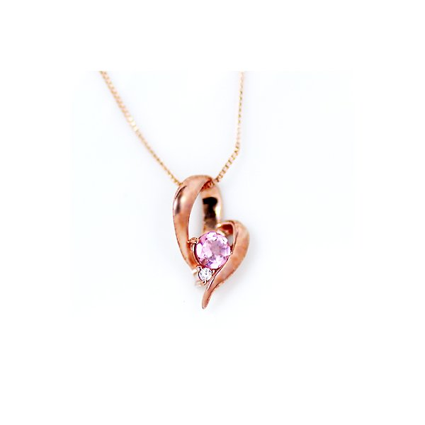 10金ピンクゴールド 天然ダイヤモンド ピンクトルマリン オープンハート デザイン ペンダント ネックレスf00