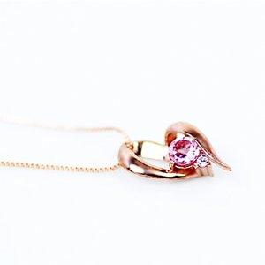 10金ピンクゴールド 天然ダイヤモンド ピンクトルマリン オープンハート デザイン ペンダント ネックレス h02