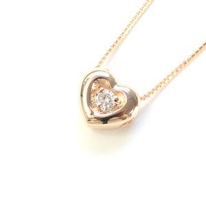 18金ピンクゴールド 天然ダイヤモンド ぷっくりハート プチデザイン ペンダント ネックレス
