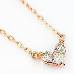 18金ピンクゴールド 0.1ct天然ダイヤモンド プリンセスカット ハート ペンダント ネックレス