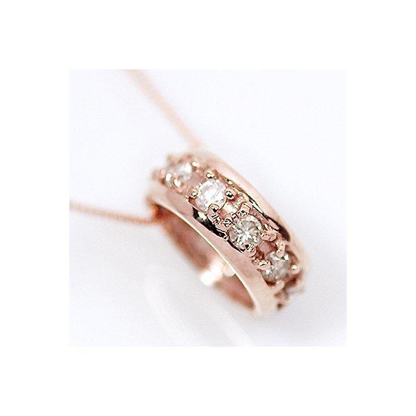 K18PG/0.2ct 天然ダイヤモンド エタニティリング ペンダント/ネックレス画像1