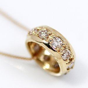 18金イエローゴールド 0.2ct 天然ダイヤモンド エタニティ リング ペンダント ネックレス - 拡大画像