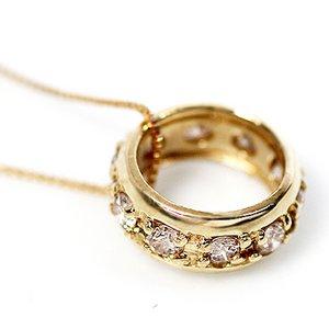 18金イエローゴールド 0.2ct 天然ダイヤモンド エタニティ リング ペンダント ネックレス h02