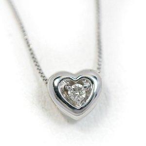 18金ホワイトゴールド 天然ダイヤモンド ぷっくりハート プチデザイン ペンダント ネックレス
