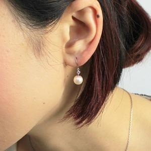 プラチナ 7mmあこや真珠 0.1ct 天然ダイヤモンドピアス フックピアス パールピアス