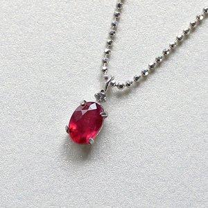 0.5ct ラウンドカット ルビー 天然ダイヤモンド付き ペンダント ネックレス - 拡大画像
