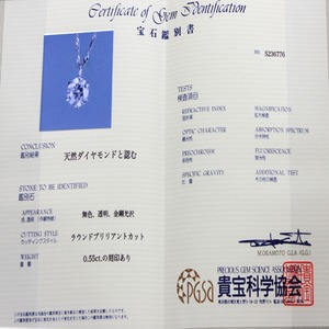 プラチナ900 0.55ct ダイヤモンドペンダント/ネックレス