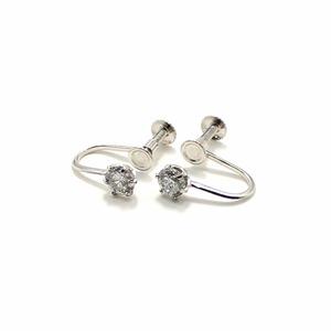 プラチナ900 ネジバネ式 0.5ct ダイヤリング 指輪 6爪 スクリュー式 イヤリング