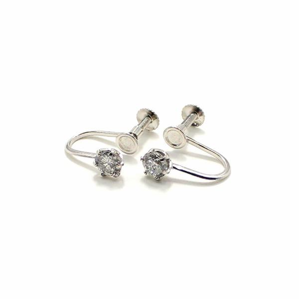 プラチナ900 ネジバネ式 0.5ct ダイヤリング 指輪 6爪 スクリュー式 イヤリングf00