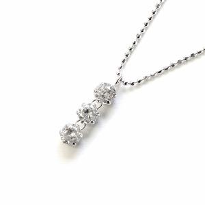 天然ダイヤモンド 0.5ct スリーストーンペンダント - 拡大画像