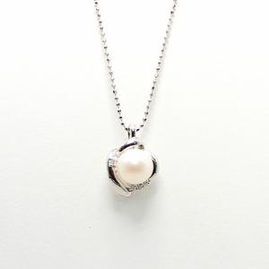 7mm珠 あこや本真珠 ダイヤモンドペンダント - 拡大画像
