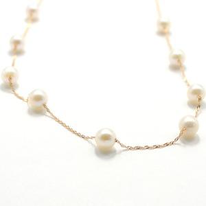 18金ピンクゴールド アコヤ真珠真珠 ステーションネックレス