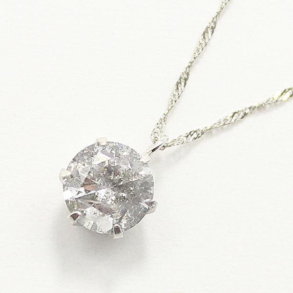 純プラチナ0.9ctダイヤモンドペンダント/ネックレス スクリューチェーンf00