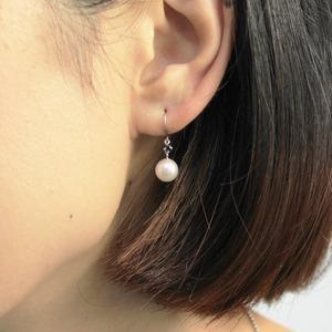 プラチナ 7mmあこや真珠 サファイア フックピアス パールピアス