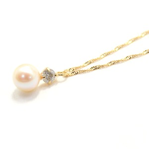 18金 イエローゴールド アコヤ真珠 ダイヤモンドペンダント/ネックレス