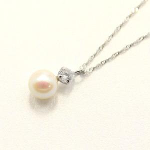 プラチナアコヤ真珠ダイヤモンドペンダント/ネックレス