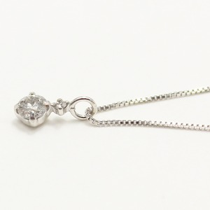 【鑑別書付】 18金ホワイトゴールド 天然 ダイヤモンド ツインデザイン ペンダント h02