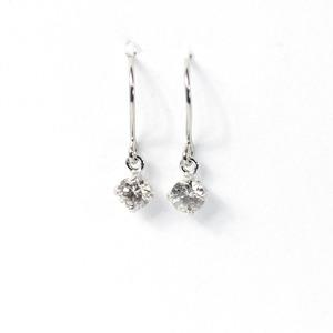 プラチナ900 0.2ct 1粒石 ダイヤモンドピアス フックピアス