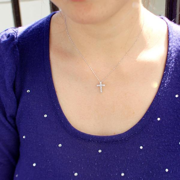純プラチナ 0.5ct ダイヤモンド クロスペンダント1