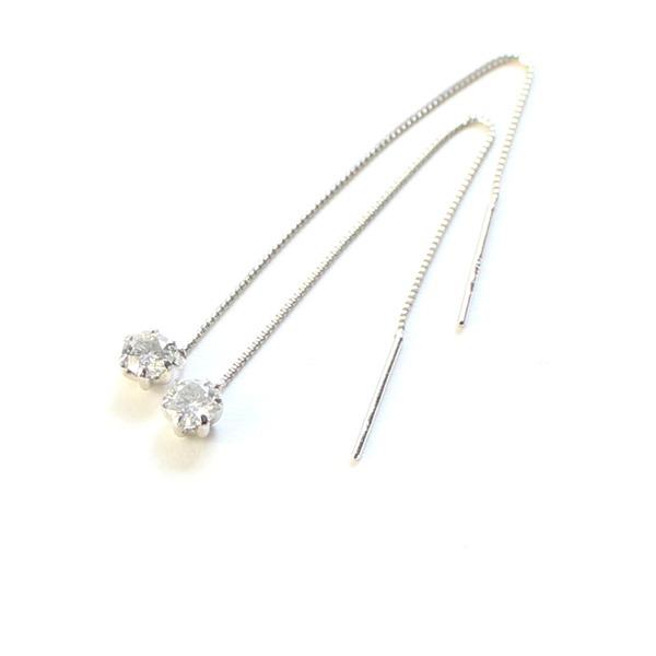 プラチナ0.3ctダイヤモンド ショート アメリカンチェーンピアスf00