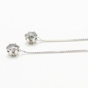 プラチナ0.3ctダイヤモンド ショート アメリカンチェーンピアス h02