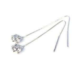 プラチナ0.6ctダイヤモンド ショート アメリカンチェーンピアス - 拡大画像