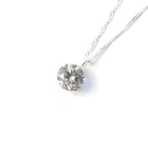 18金ホワイトゴールド0.5ctダイヤモンドペンダント/ネックレス