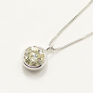 10金 ホワイトゴールド 0.3ct イエローダイヤモンド フクリン ペンダント - 拡大画像