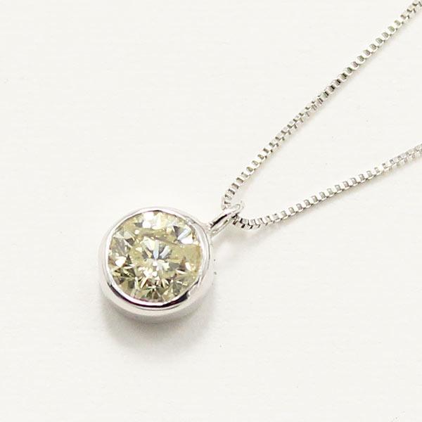 10金 ホワイトゴールド 0.3ct イエローダイヤモンド フクリン ペンダントf00