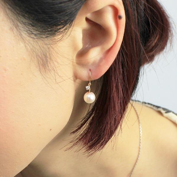 あこや真珠  18金 イエローゴールド 7mm珠 アコヤ本真珠 ダイヤモンド フックピアス