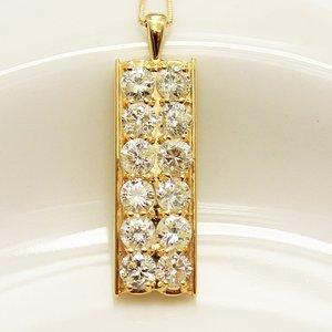 18金 イエローゴールド 2ct ダイヤモンド プレート デザイン ペンダント - 拡大画像