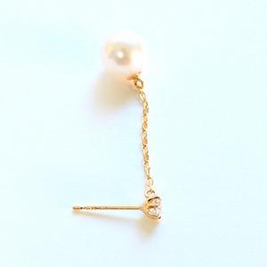 18金 7mmあこや真珠 0.2ct 天然ダイヤモンドチェーンピアス パールピアス