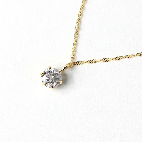18金 イエローゴールド 0.3ct ダイヤモンド ペンダント f00