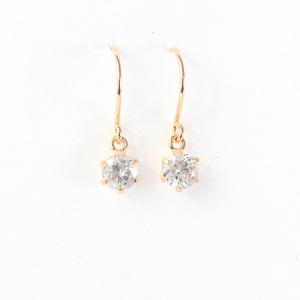 18金ピンクゴールド0.25ctダイヤモンドフックピアス