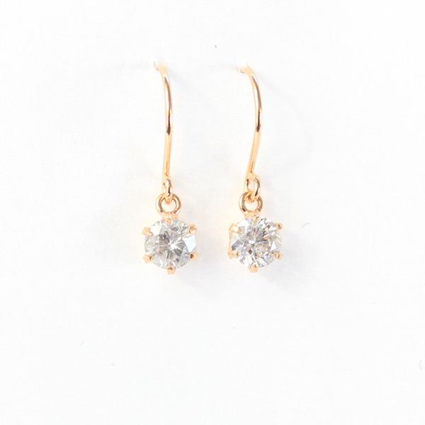 18金 ピンクゴールド 0.25ct ダイヤモンド フックピアスf00