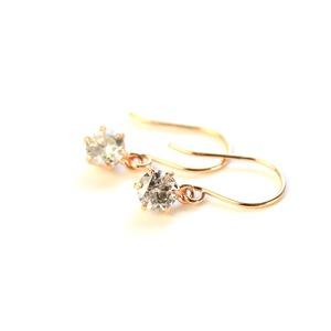 18金 ピンクゴールド 0.25ct ダイヤモンド フックピアス h02