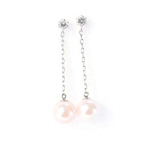 プラチナ 7mmあこや真珠 0.2ct 天然ダイヤモンドチェーンピアス パールピアス