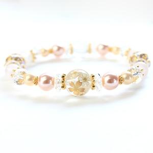 ローズクォーツ 水晶 桜 ブレスレット 16cm