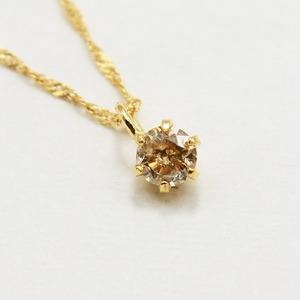 18金 イエローゴールド ブラウンダイヤモンド 0.1ct ペンダント ネックレス - 拡大画像