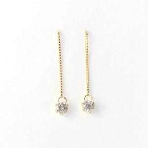 18金 イエローゴールド 0.1ct ダイヤモンドピアスショート アメリカンチェーンピアス