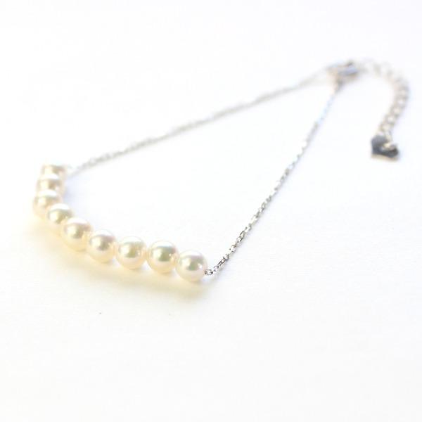 18金 ホワイトゴールド アコヤ真珠 ライン ブレスレットf00