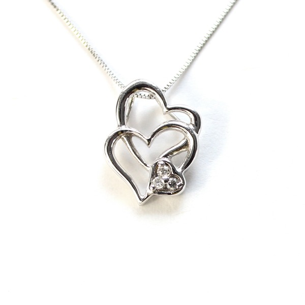 ハート ダブル ダイヤモンド ネックレス ペンダント ホワイトゴールドf00