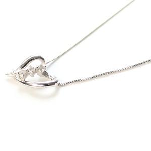 スリーストーン ハート ダイヤモンド ネックレス ペンダント ホワイトゴールド