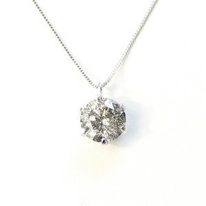 純プラチナ 1ct ダイヤモンド ネックレス ラウンド ペンダント - 拡大画像